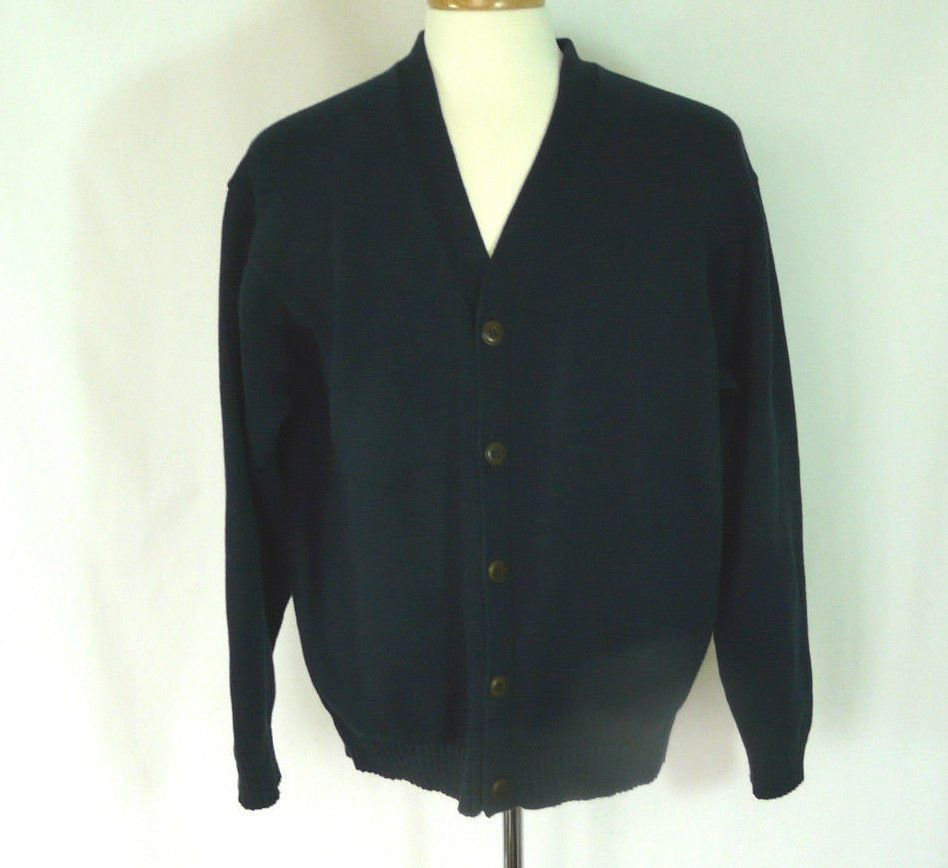 LL Bean Men's Cardigan Sweater Cotton Navy Blue Size XL #LLBean ...