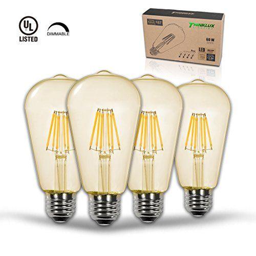 Thinklux Edison Style Filament Led St21 Light Bulb Vintage Amber 2200k 7 Watt 60 Watt Equal Dimmable E26 Base Pack Of 4 Light Bulb Bulb Edison