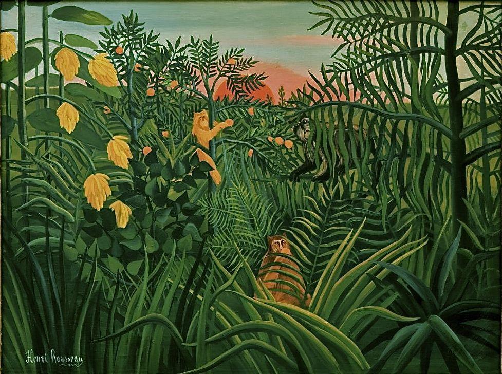 Henri Rousseau -Apes in Orange Cove- | Kunst | Pinterest | Orange ...
