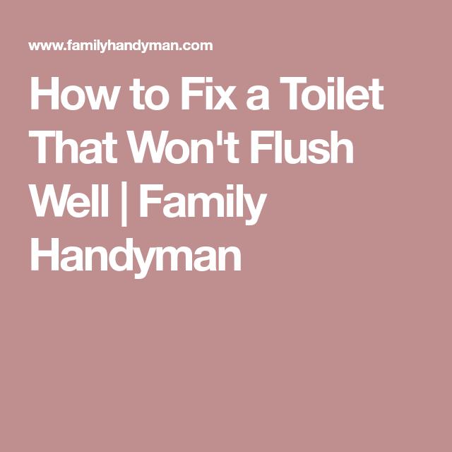 How To Fix A Toilet That Won T Flush Well Flush Fix It Toilet Repair