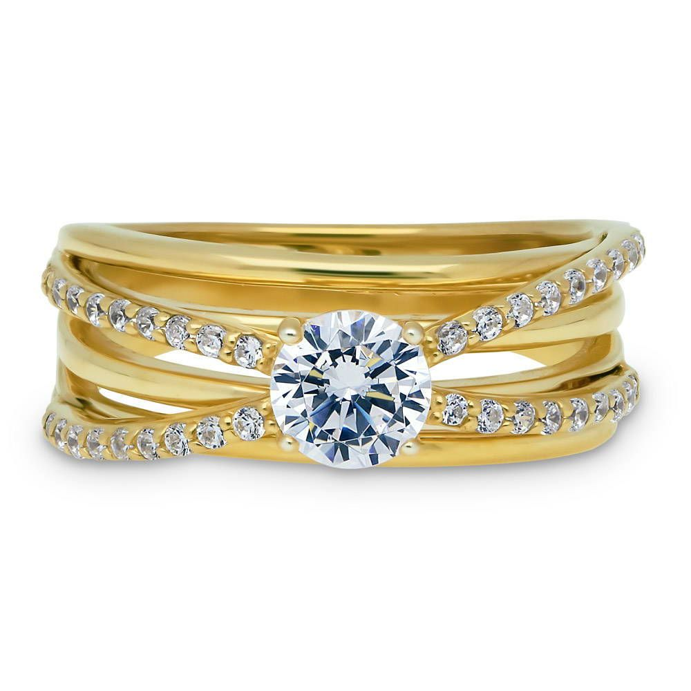 Clear Cubic Zirconia Gilded Band Ring Yellow Gold-Tone Plated Sterling Silver