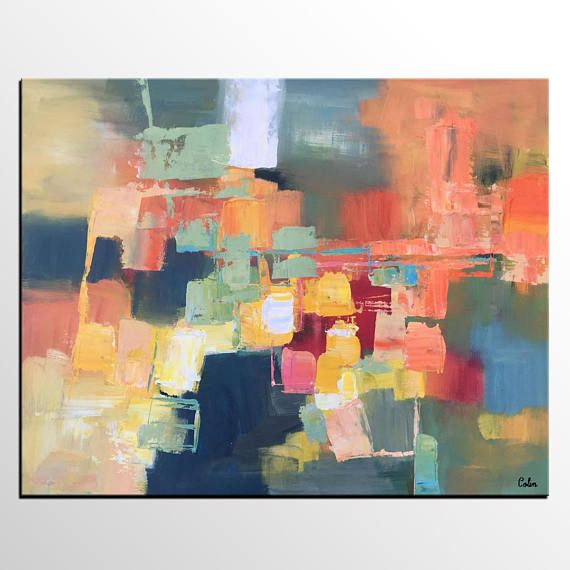 Large Abstract Painting, Canvas Art, Contemporary Painting, Living - wohnzimmer bilder abstrakt
