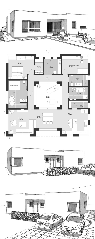 Bauhaus Bungalow modern Grundriss mit Innenhof & Flachdach