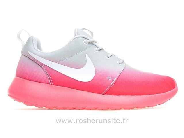 Nike Femme Roshe Run Imprimer Grau / Rose Nike Roshe Run Bordeaux Femme