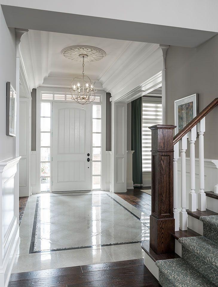 Entryway Marble Floor Chandelier Door Windows Ceiling Medallion Foyer Design Foyer Flooring Marble House