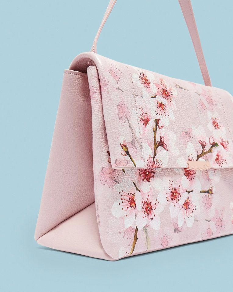 87b478e029 Soft Blossom leather shoulder bag - Light Pink | Back To The Fuchsia | Ted  Baker