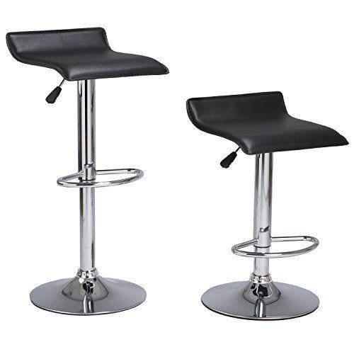 Admirable Set Of 2 Bounder Pu Leather Barstool Coavas Black Modern Short Links Chair Design For Home Short Linksinfo