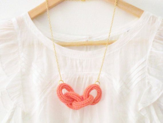 Chain reaction crochet chain necklace Coral pink cotton by sidirom, $14.00