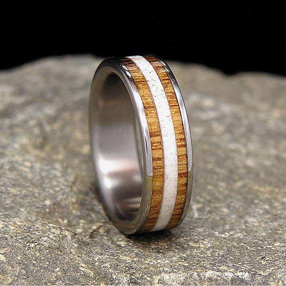 Jack Daniels Wood Titanium Wedding Band or Ring by HolzRingShop