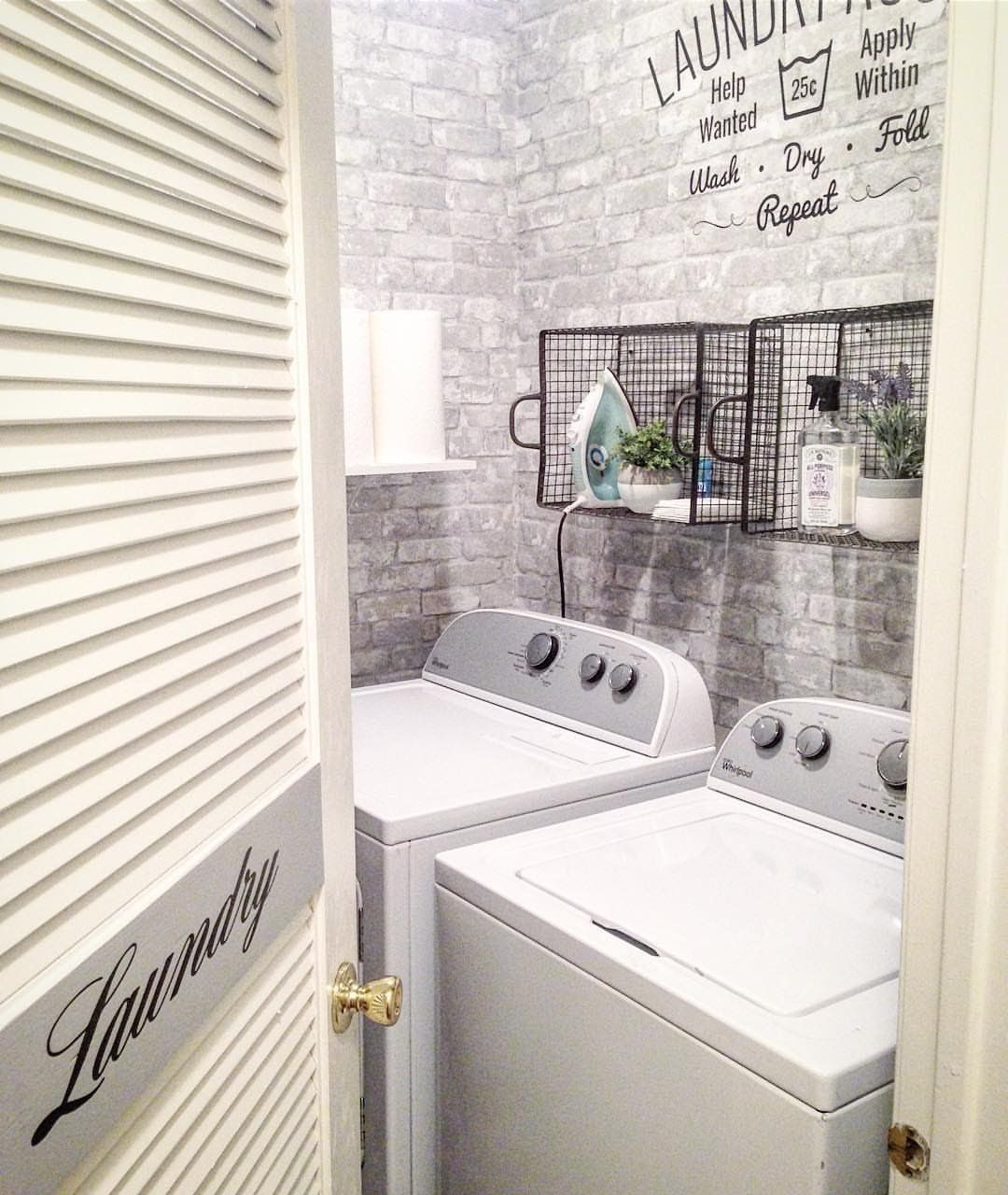 Wallpops Gray Brick Peel And Stick Wallpaper Stylish Laundry Room Laundry Room Design Small Laundry Rooms