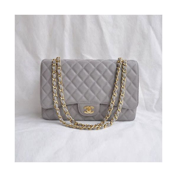 3df489592 Chanel 2.55 Classic Bag Ball Stria With Gold Hardware (Grey) via Polyvore