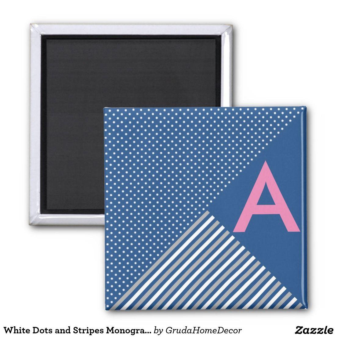 White Dots and Stripes Monogram Magnet