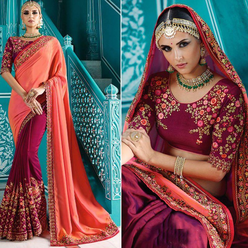 Saree Blouse Designer Sari Silk Indian Party Bollywood Wedding ...