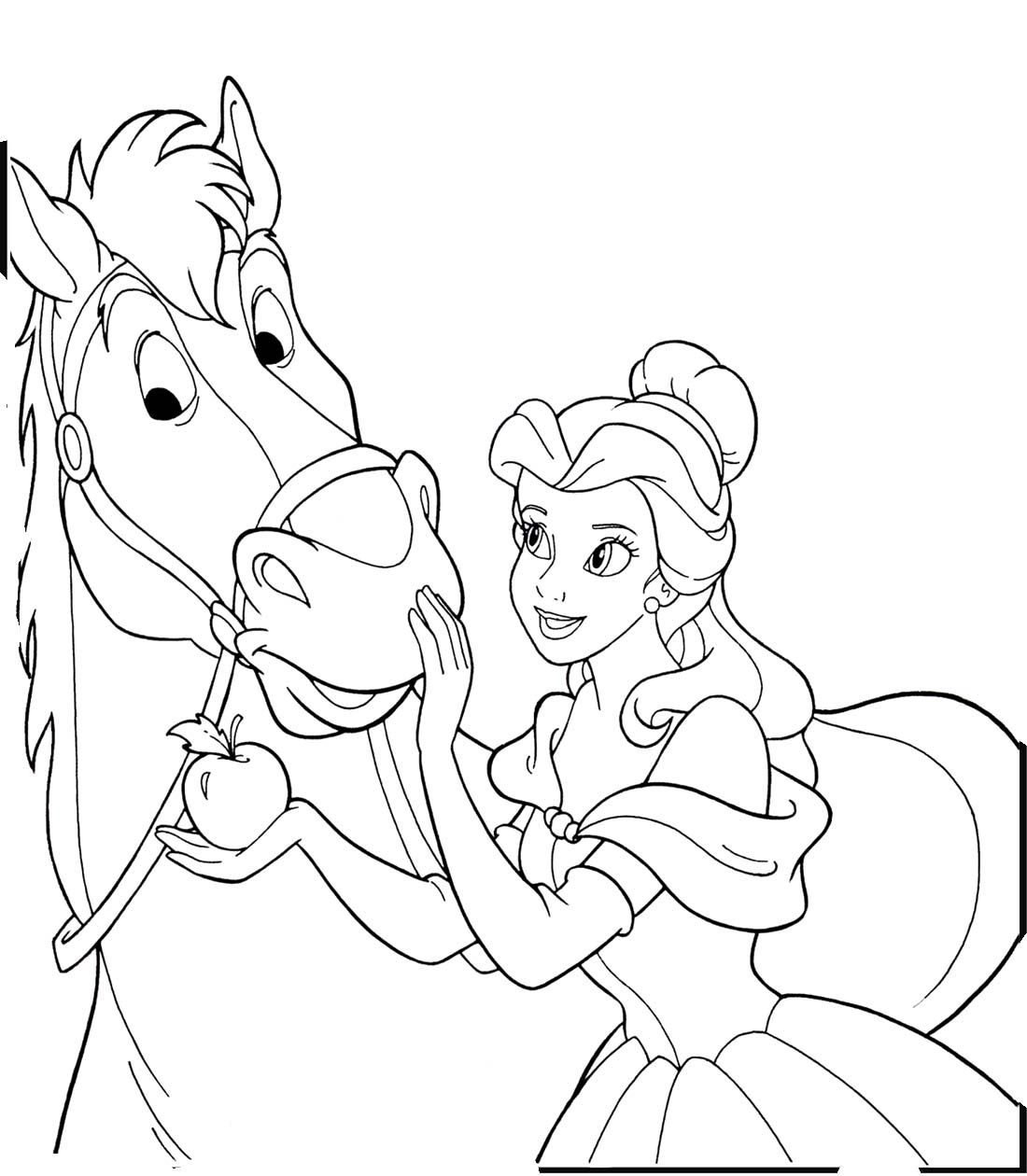 Princess Belle And Horse Coloring Pages
