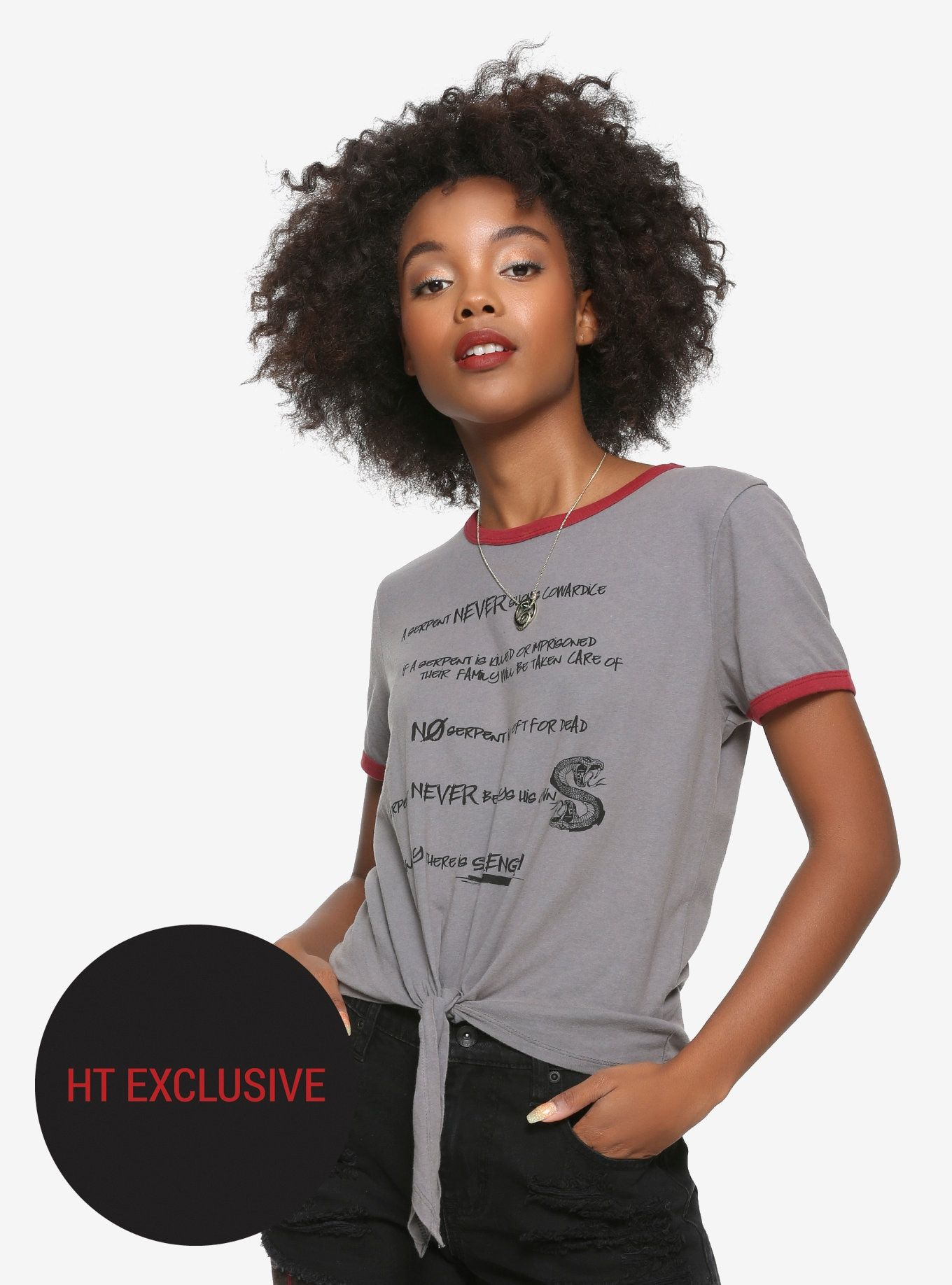 87a4ac94 Riverdale Toni Serpent's Rules Tie Front Girls T-Shirt Hot Topic Exclusive,  BLACK