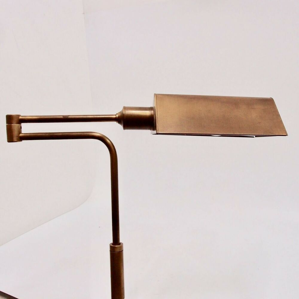 Bankerlampe Metall Goldfarben 180 Cm Stehlampe Fussschalter
