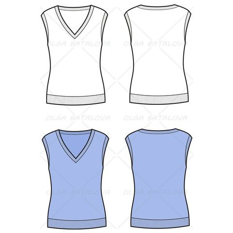 Womens knit vest fashion flat template fashion templatesvectors womens knit vest fashion flat template maxwellsz