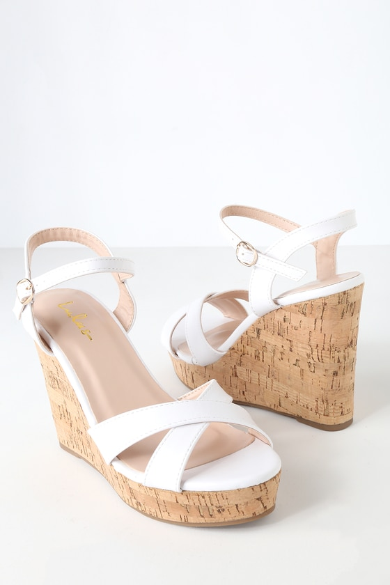 Nixie White Wedge Sandals | White wedge
