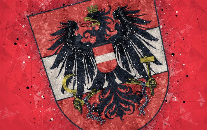 Download Wallpapers Austria National Football Team 4k Geometric Art Logo Red Abstract Background Uefa Emblem Austria Football Grunge Style Creative Ar Geometric Art Art Logo Sports Wallpapers