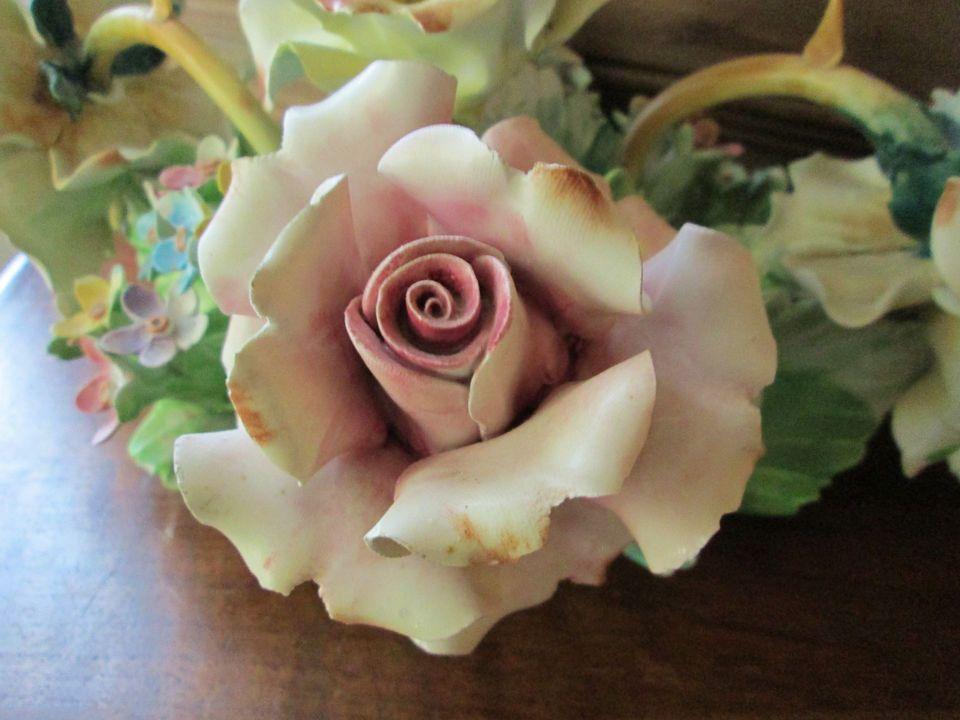 Vintage italian capodimonte porcelain rose flower centerpiece
