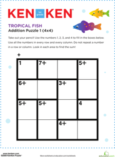photo relating to Kenken Puzzle Printable named Tropical Fish KenKen® Puzzle Amount Puzzles - KenKen