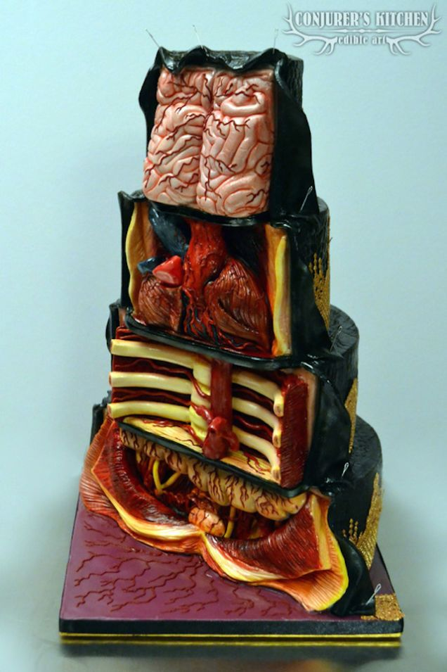 This anatomical confection from Conjurer's Kitchen reveals what one of their intricately crafted cakes looks like on the inside.