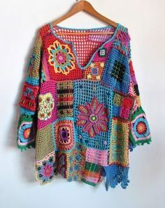 Crochet top colorful boho tunic Bohemian Gypsy Freeform Patchwork Designer Lace Blouse Pullover Sweater Plus Size / IN STOCK #crochettunicpattern