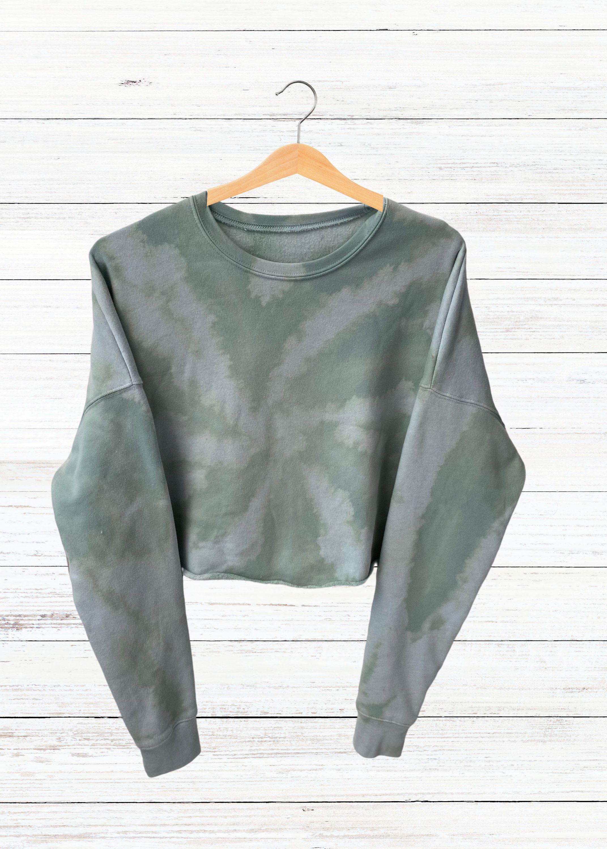 Handmade reverse tie dye crop sweatshirt light weight