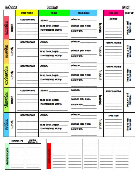 Planbook Templates Downloads Kate Stokley A TeacherS Plan