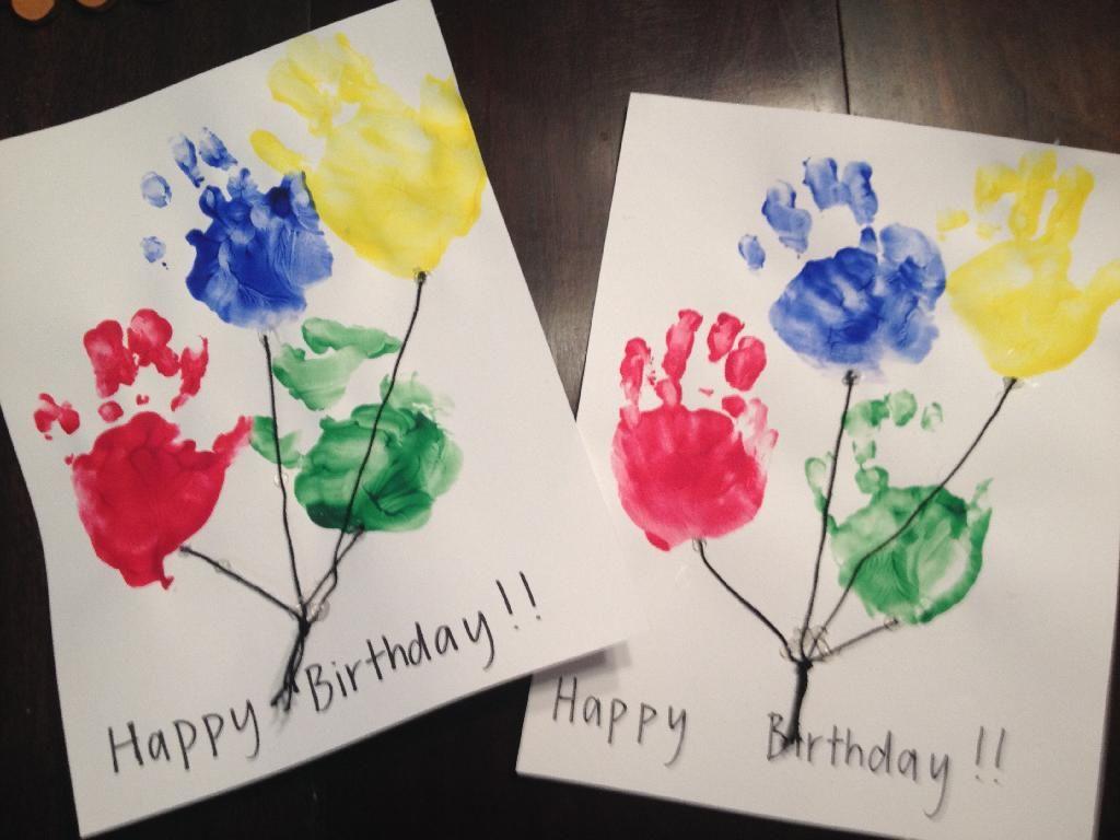 Wonderful Birthday Card Ideas For Toddlers To Make Part - 11: Kids Craft: Handprint Balloon Birthday Cards