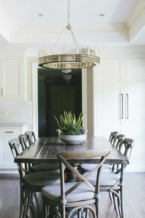 Fantastic Dining Room Features A Tray Ceiling Accented With A Ralph Lauren  Roark Modular Ring Chandelier