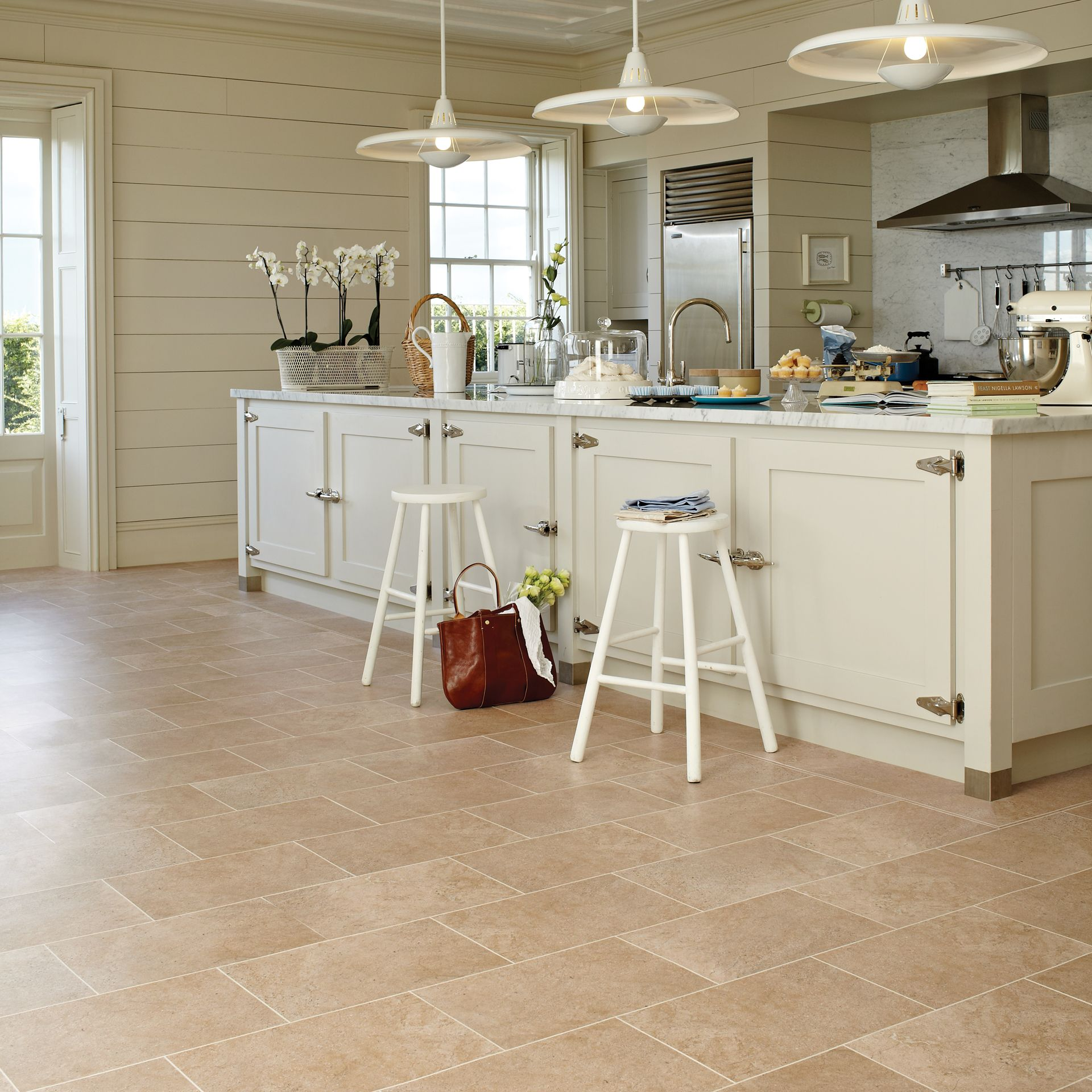 Stone Floors In Kitchen Natural Stone Effect Vinyl Floor Tiles Kitchen Pinterest