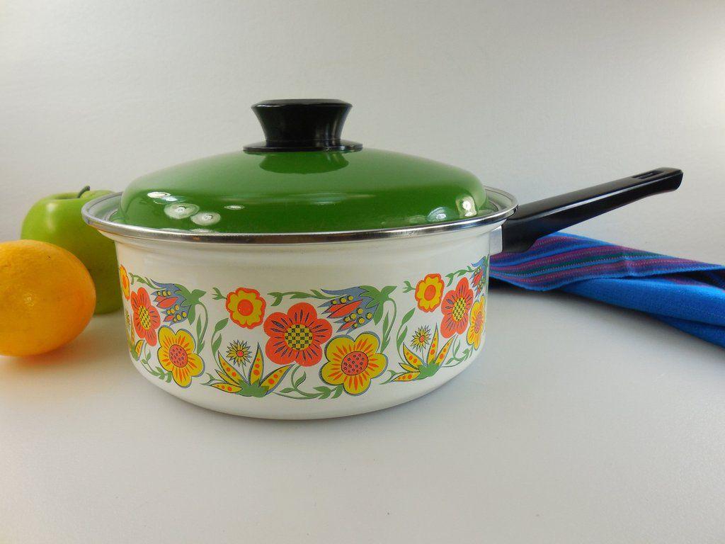 Floral Decor Kitchenware White Enamelware Vintage Cooking Pot Casserole Dish Enamel Cookware Small Enamel Saucepan