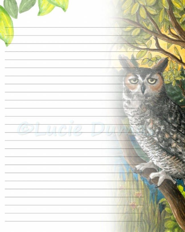 Lined Page Template Digital Printable Journal Writing Lined Page Bird 68 Owl Stationary .