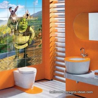 Bright And Exiting Bathroom For Kids Who Love Shrek Orange Colors Makes This Bathroom Really
