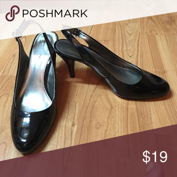 Bandolino sling back patent low pump Black patent sling back. Low/mid heel. Worn few times. Like new Bandolino Shoes Heels