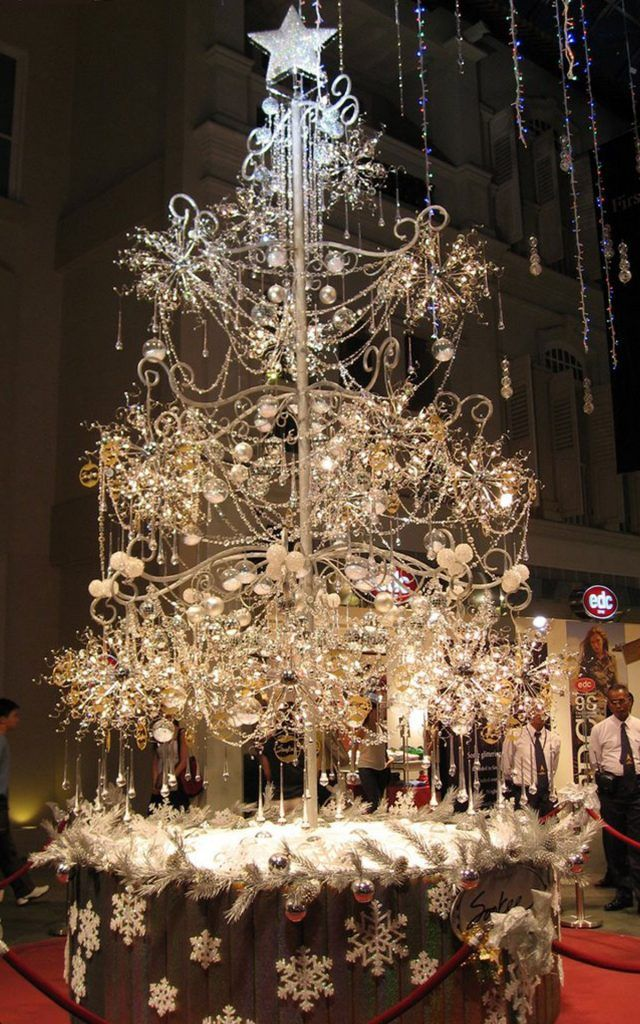 Interior Luxury Christmas Tree With Silver Snowflake Ornaments And Hanging Glittered Without Leaves Decorating Ideas For Trees