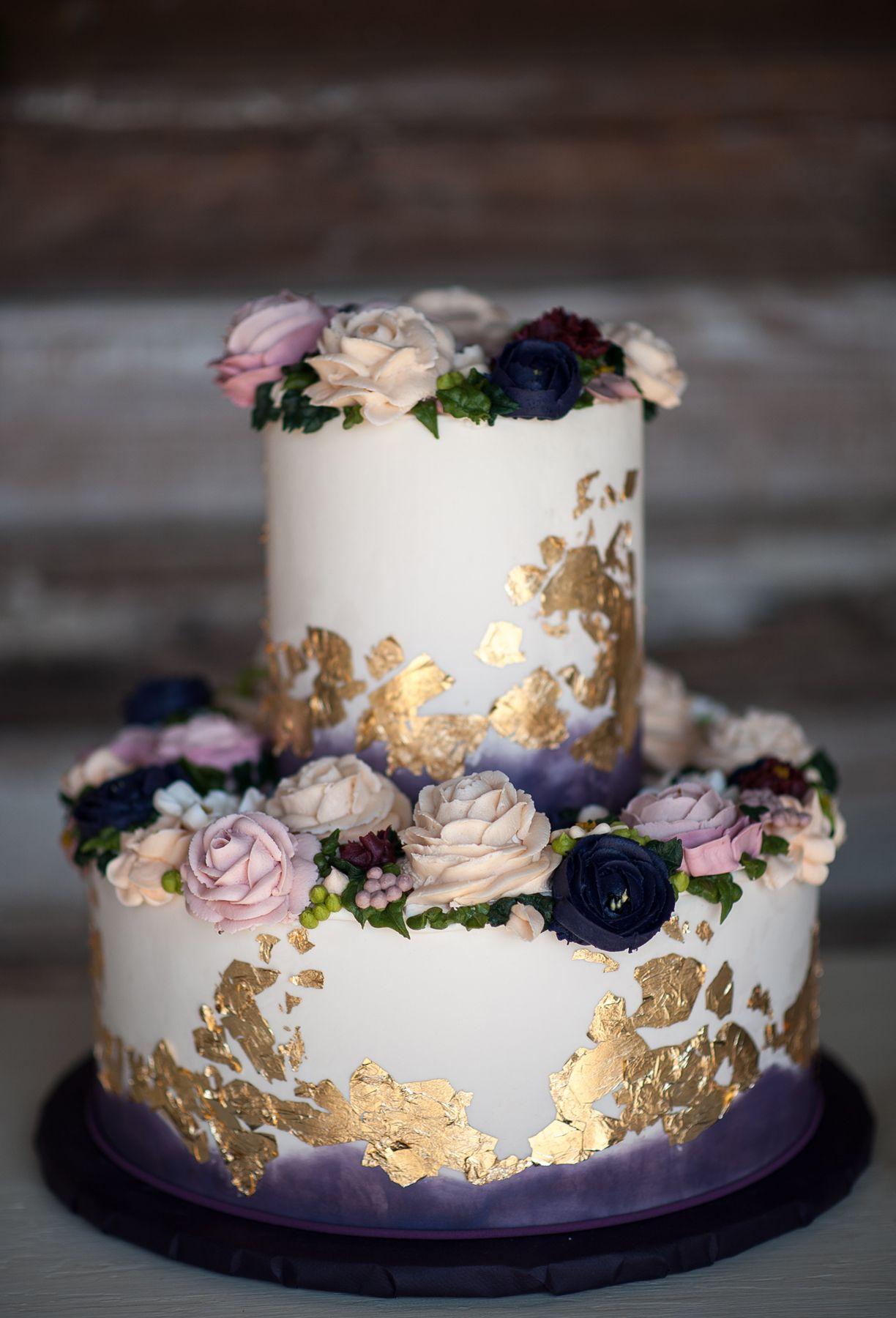 Purple Wedding Cake Gold Leaf Buttercream Roses Vintage