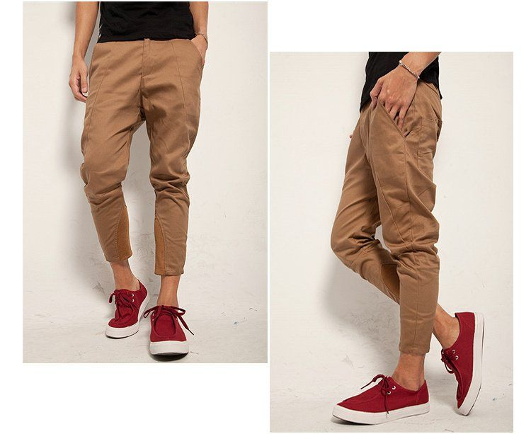 Men's Casual Punk Slim Skinny Cropped Capri Tapered Harem Pants ...