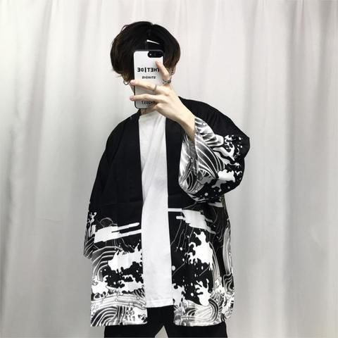 2018 summer mens kimono japanese clothes streetwear casual kimonos jackets harajuku japan style cardigan outwear