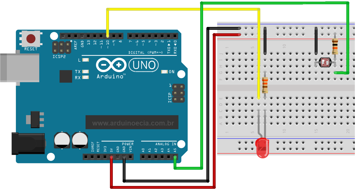 Controle De Luz Com Ldr E Arduino Pinterest Rapid Pcb Project Kit Online Circuito Dimmer Uno Led Hi Lights Projects