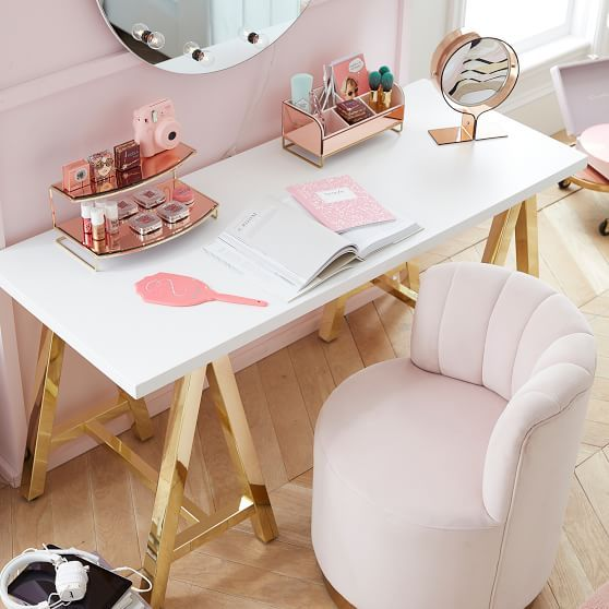 Pottery Barn Teen Customize It Simple Small Wood Desk Metal A Frame, Simply White With Gold Base is part of Vanity chair - Work your way  This supersmart collection lets you customize the perfect space to read, think, dream and create  Choose your favorite desktop and pair it with the base you like best  From distressed wooden desktops to metal trestle legs, it's easy to find a combination that works for you  HOW IT'S CONSTRUCTED Desktops and Side Table are crafted with a kilndried wood frame and finished in Simply White or our rich Tuscan stain  AFrame legs are made of welded metal with a brushed nickel, gold, or iron finish  DETAILS YOU'LL APPRECIATE Tuscan finish is hand applied using a multistep process that creates layers of character and quality  Use with our Side Table for extra storage space (sold separately)  KEY PRODUCT POINTS Simple Wood Desktop offers a compact desktop to spread out your papers, laptop, books and is ideal for smaller spaces Desk 58  wide x 23 5  deep x 28 5  high