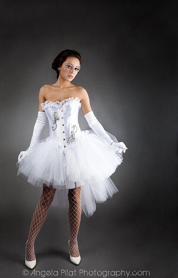Sondergröße weißen Tüll Burlesque Korsett Prom Kleid mit | kostüme ...