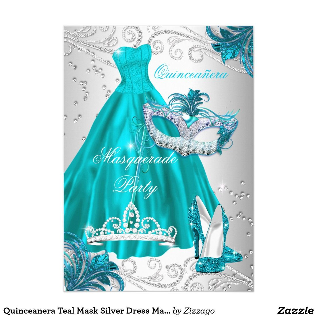 Quinceanera Teal Mask Silver Dress Masquerade Blue Card ...