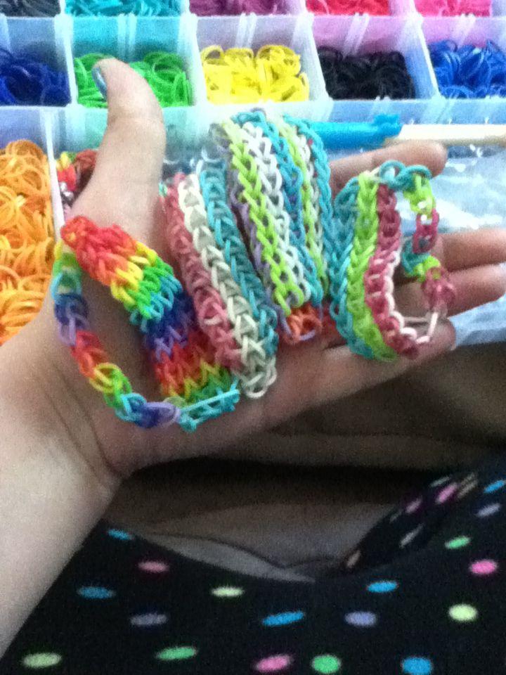 my triple single rainbow loom bracelets rubber band
