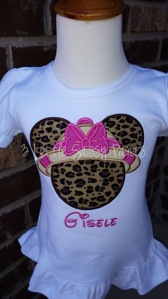 Minnie Mouse Safari Embroidered Shirt- Minnie Mouse Applique- Custom Disney  Shirt- Vacation-