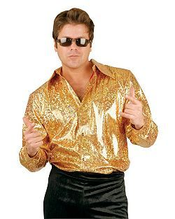 Adult Gold Glitter Disco Shirt Disco Costume Disco Shirt 70s