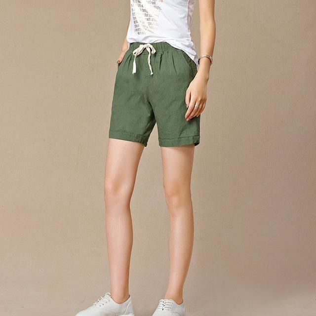 f5179334a1c New Summer shorts women Elastic high waist short Fashion Loose solid cotton  linen feminino short for ...
