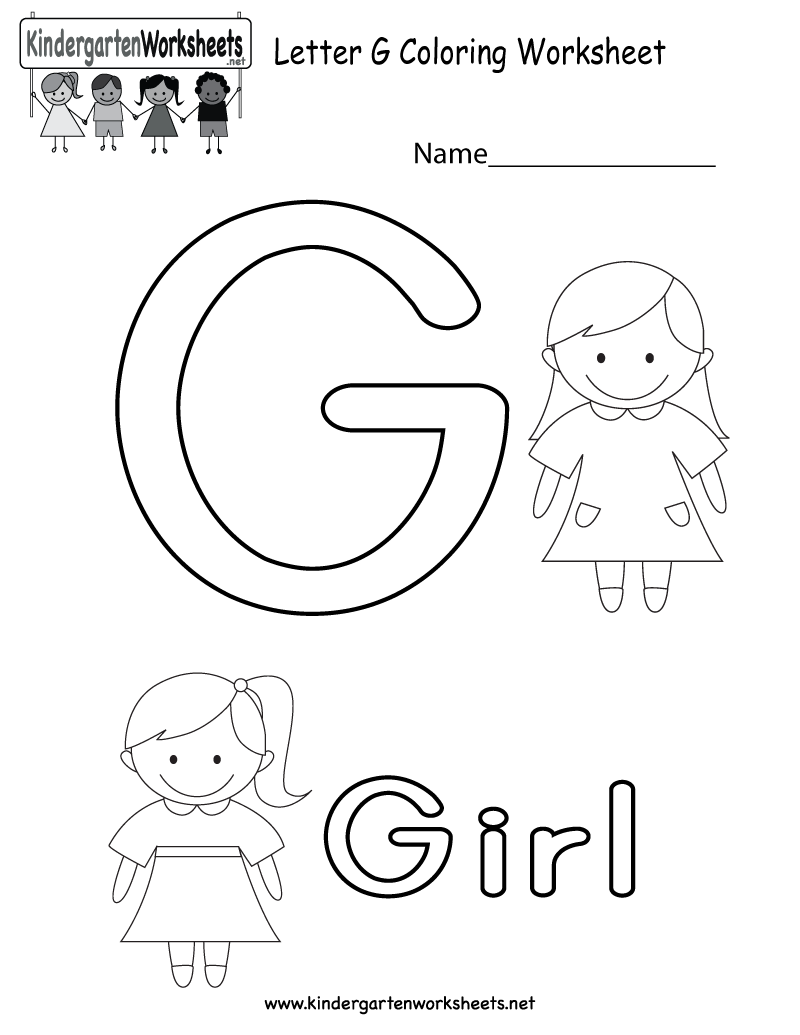 Letter G alphabet coloring worksheet for kids in preschool