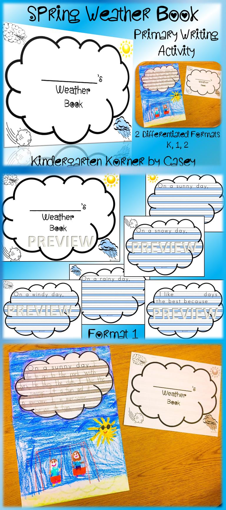 Spring Weather Writing Book - NO PREP Kindergarten 1 2 Science | Re ...